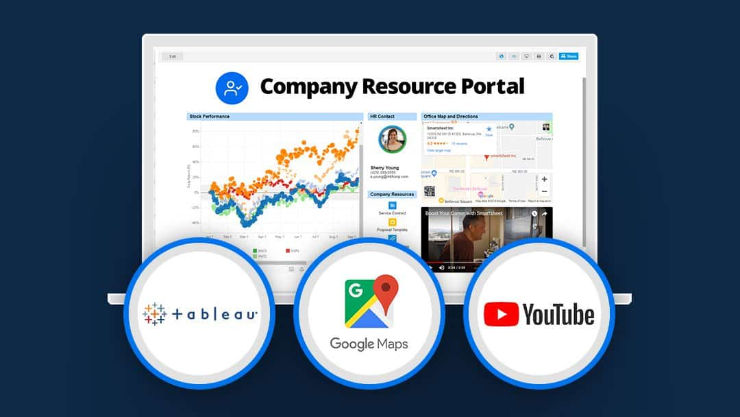 company resource portal with the web content widget in Smartsheet