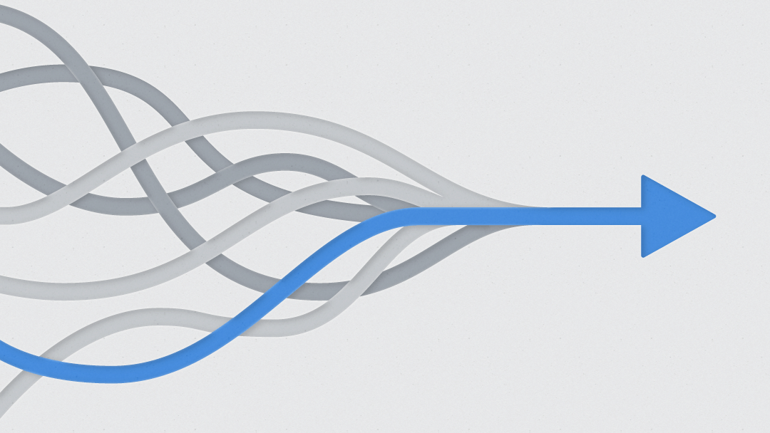 Illustration shows multiple wave lines joining to form a straight, blue line.
