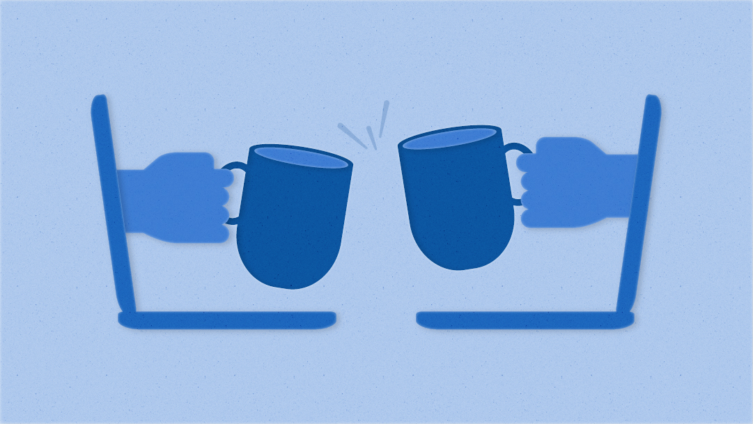 Illustration of two hands toasting coffee cups, with each coming out of a laptop