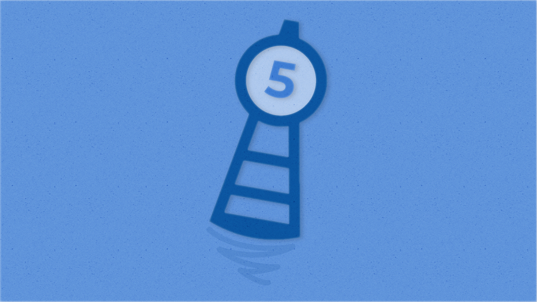 A blue buoy with the number 5 at the top appears to float in the water, tipping to the right