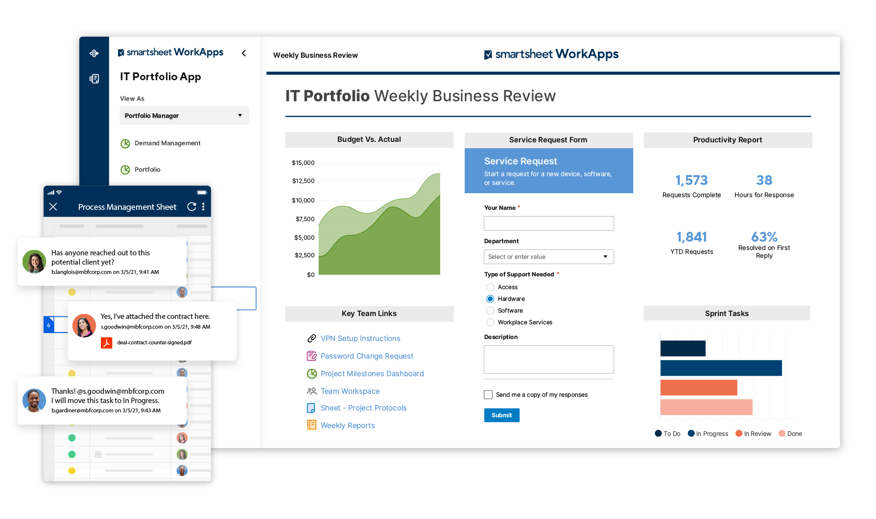 Smartsheet WorkApps Product Screen