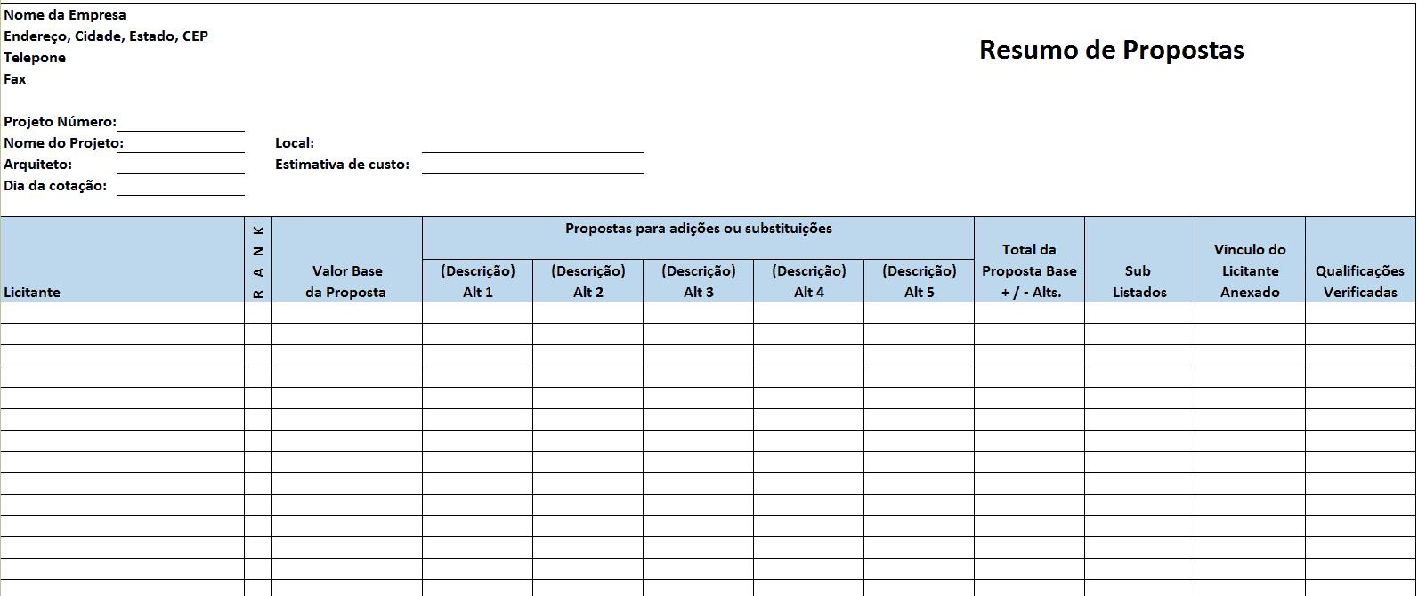 Modelos Grátis De Excel Para Gestão De Construção
