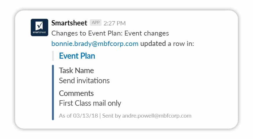 Smartsheet notification in Slack