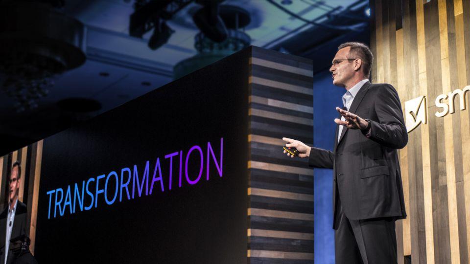 Smartsheet CEO and President Mark Mader delivers a keynote address