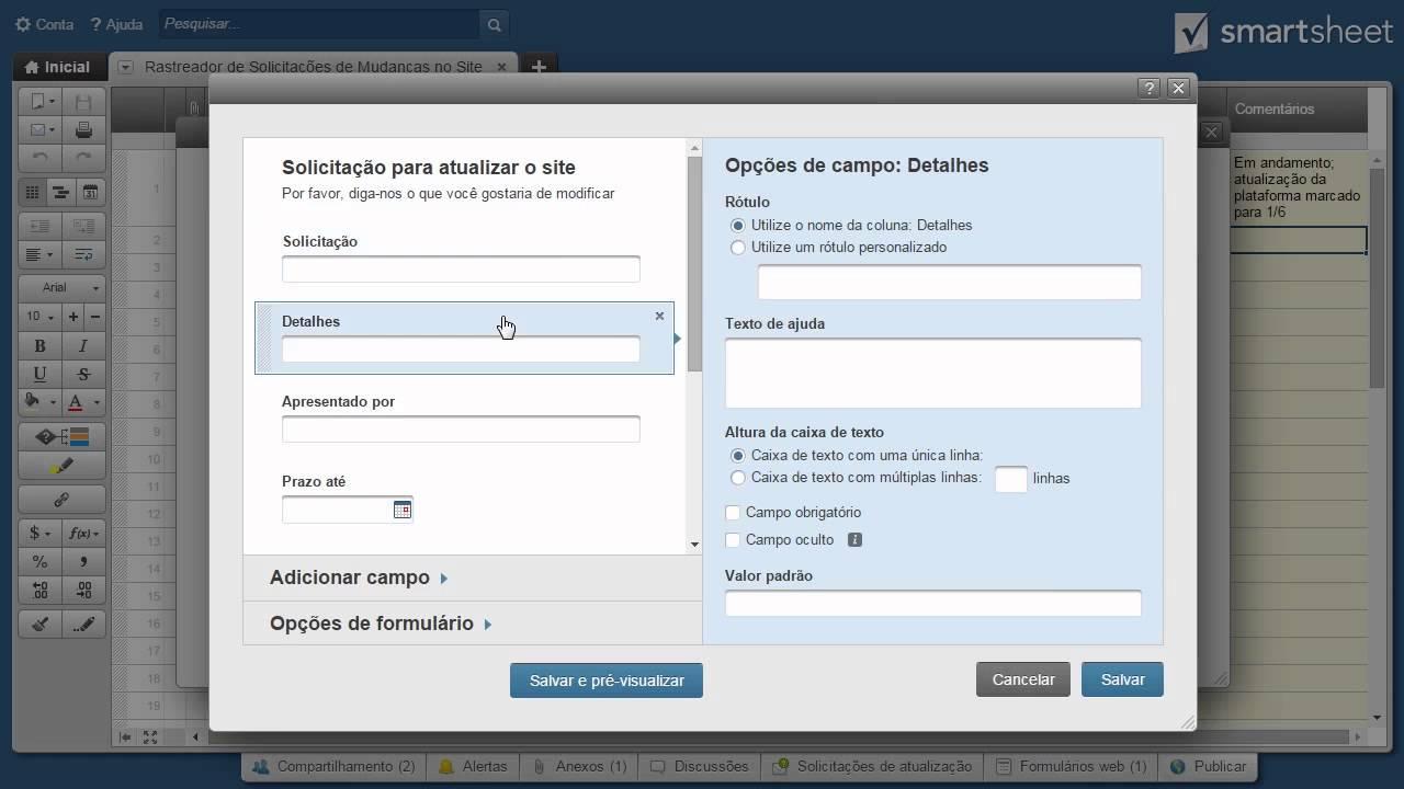 Formulários Web em Smartsheet